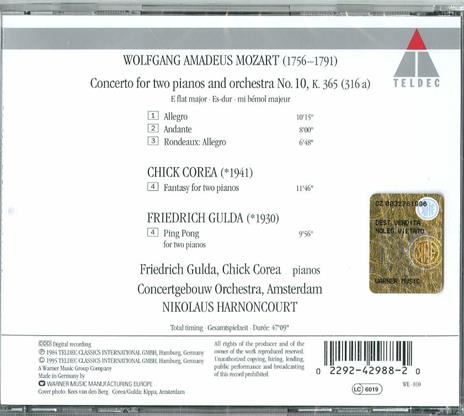 Concerto per 2 pianoforti n.10 - CD Audio di Chick Corea,Friedrich Gulda,Wolfgang Amadeus Mozart,Nikolaus Harnoncourt,Royal Concertgebouw Orchestra - 2