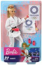 Barbie Carriere Giochi Olimpici Tokyo 2020, Bambola con Kimono da Karate e Accessori Giocattolo per Bambini 3+ Anni, GJL74
