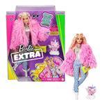 Barbie Extra Bambola con giacca lanosa rosa e maialino-unicorno, 10 Accessori alla Moda, Giocattolo per Bambini 3+ Anni
