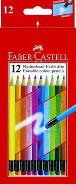 Matite colorate cancellabili Faber-Castell. Astuccio da 12 matite