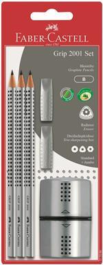 Matite di grafite triangolari Grip. Set 3 matite + 2 Gommini salvapunta + Temperalapis Grip tre fori con doppio serbatoio