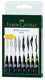 Penna di china Faber-Castell Pitt Artist Pen nero. Bustina 8 tratti assortiti
