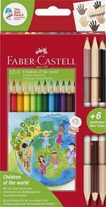 Matite colorate Faber-Castell Children of the worls. Astuccio da 12 + 3 matite triangolari