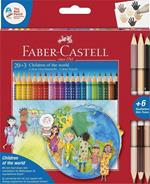Matite colorate Faber-Castell Grip Chidren of the world. Astuccio cartone 20+3 matite