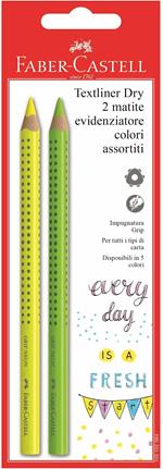 Evidenziatori a secco Faber-Castell Textliner Dry Grip fusto triangolare Jumbo. Confezione 2 pezzi