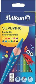Matite colorate Pelikan triangolari ergonomiche per bambini. Confezione da 12 colori serie Silverino. Diametro 3 mm