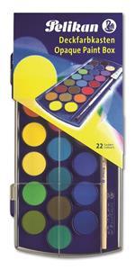 Acquerelli Pelikan scolastici. Confezione 22 colori + Pennello