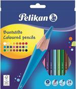 Pastelli Pelikan fusto laccato. Confezione 24 matite colorate