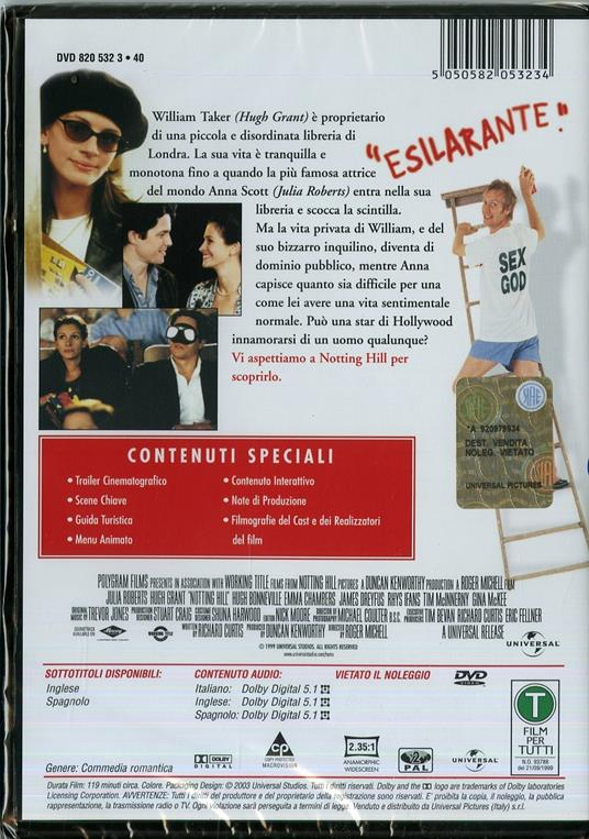 Notting Hill di Roger Michell - DVD - 2