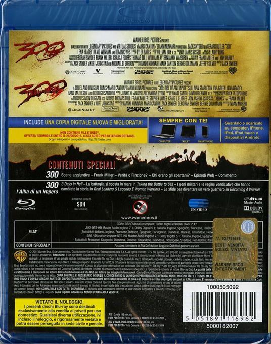 300 - 300. L'alba di un impero (2 Blu-ray) di Noam Murro,Zack Snyder - 2
