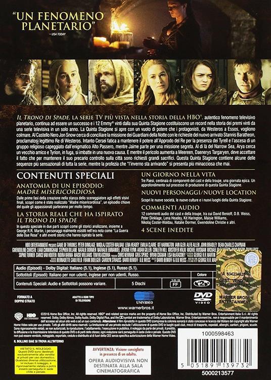 Il trono di spade. Stagione 5 (Serie TV ita) (5 DVD) di Alex Graves,Daniel Minahan,Alik Sakharov - DVD - 2