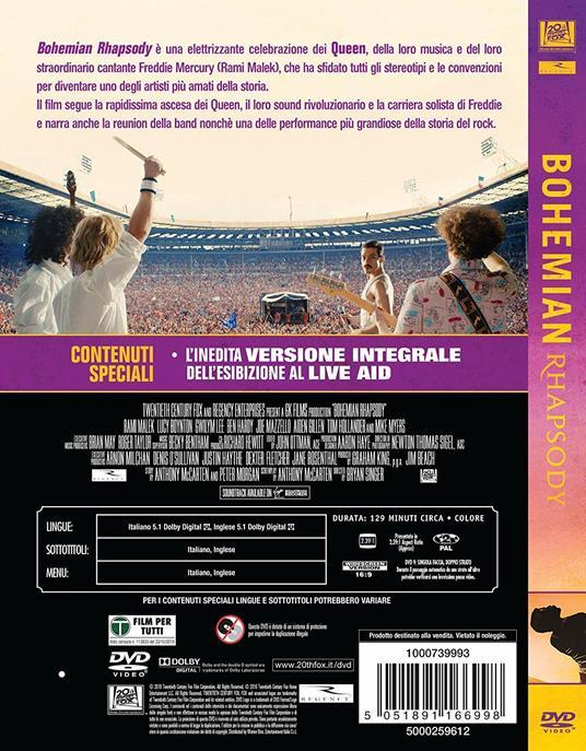 Bohemian Rhapsody (DVD) di Bryan Singer - DVD - 2