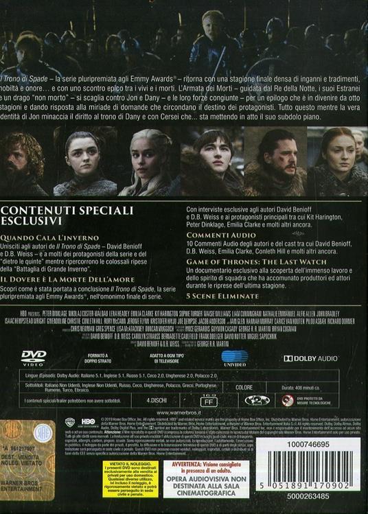 Il trono di spade. Game of Thrones. Stagione 8. Serie TV ita (3 DVD) di David Nutter,Miguel Sapochnik,David Benioff,D.B. Weiss - DVD - 2