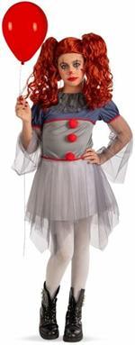Costume Clown Horror Ragazza T.U. Vii-Viii In Busta C/Gancio