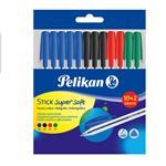 Penna a sfera Pelikan Stick Supersoft con inchiostro superscorrevole. Confezione 12 pezzi (10+2 omaggio)