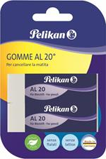 Gomma vinile Pelikan alta qualità al20 bianca. Confezione da 2 pezzi