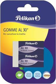 Gomma vinile alta qualità Pelikan AL30 bianca. Confezione da 2 pezzi