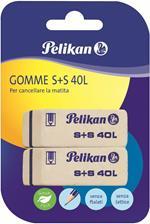Gomma Pelikan S+S 40 in caucciù alta qualità bianca. Confezione da 2 pezzi