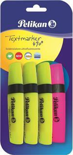 Evidenziatori premium Pelikan Textmarker. Inchiosto flourescente. Confezione da 4 pezzi (3 gialli + 1 a rotazione)