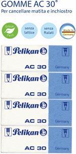 Gomma Pelikan AC30 per matita e inchiostro. Confezione 4 pezzi (3+1 omaggio)