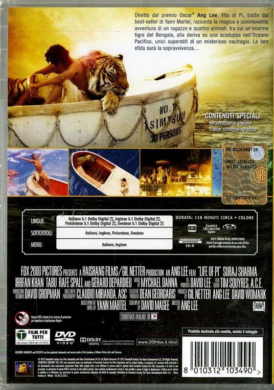 Vita di Pi di Ang Lee - DVD - 2