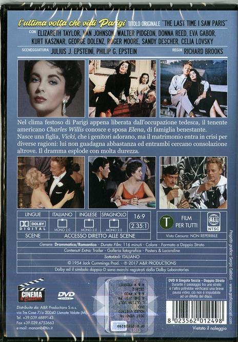 L' ultima volta che vidi Parigi (DVD) di Richard Brooks - DVD - 2