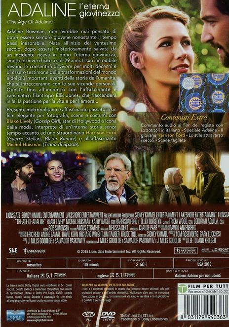 Adaline. L'eterna giovinezza di Lee Toland Krieger - DVD - 2