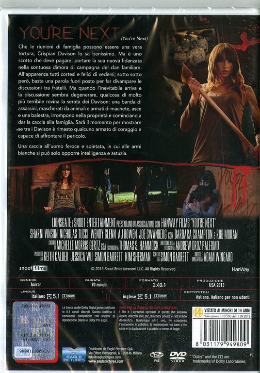 You're Next. Special Edition. Con card tarocco da collezione (DVD) di Adam Wingard - DVD - 2