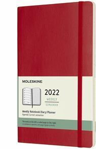 Agenda settimanale Moleskine 2022, 12 mesi con spazio per note, Large, copertina morbida - Rosso scarlatto