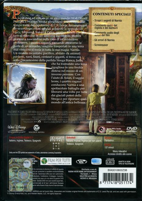 Le cronache di Narnia: il leone, la strega e l'armadio (1 DVD) di Andrew Adamson - DVD - 2