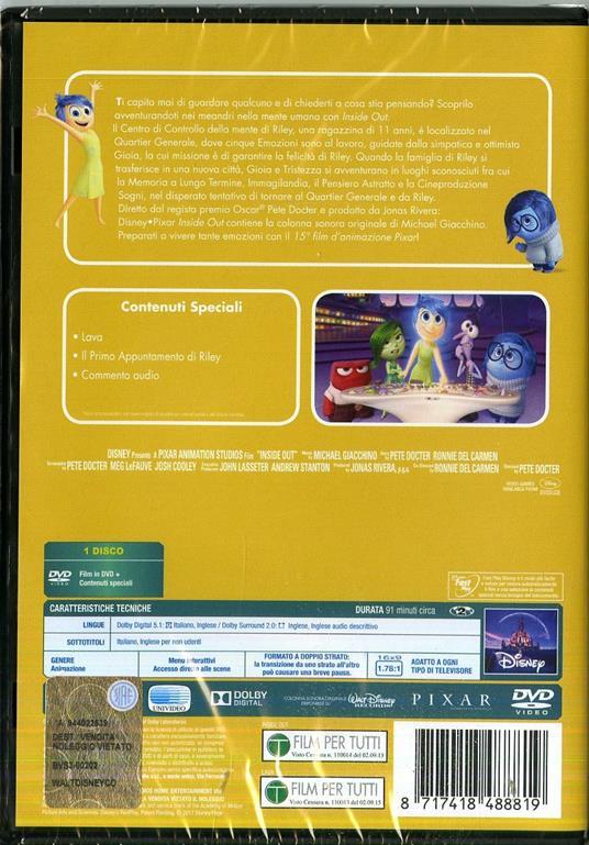 Inside Out (DVD) di Pete Docter,Ronnie Del Carmen - DVD - 2