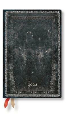 Agenda 2022 Paperblanks, 12 Mesi, Acciaio, Mini, VSO, Collezione Antica Pelle - 9,5 x 14 cm