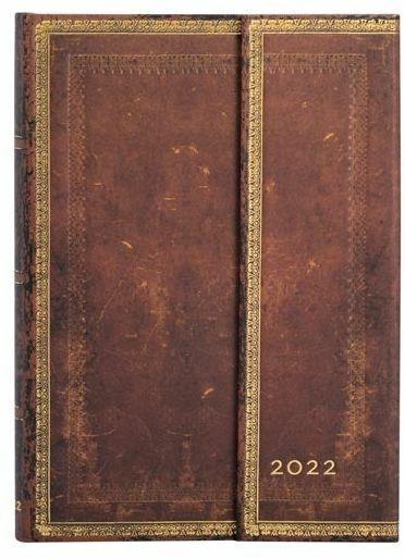 Agenda 2022 Paperblanks, 12 Mesi, Sierra, Midi, VER, Collezione Antica Pelle - 13 x 18 cm