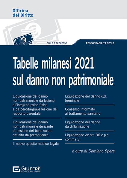 Tabelle milanesi 2021 sul danno non patrimoniale - copertina