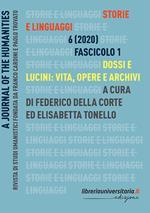 Storie e linguaggi. Rivista di studi umanistici (2020). Vol. 1