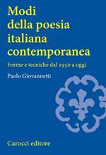 Modi della poesia italiana contemporanea. Forme e tecniche dal 1950 a oggi