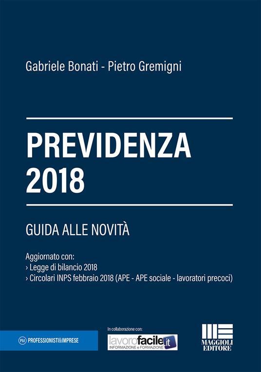 Previdenza 2018 - Gabriele Bonati,Pietro Gremigni - copertina